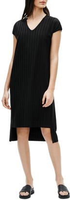 Eileen Fisher V-Neck High/Low Ribbed Shift Dress