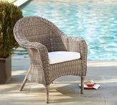 Pottery Barn Torrey All-Weather Wicker Roll Arm Dining Chair - Natural