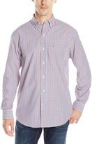 Izod Men's Long Sleeve Button Down Tattersall Woven Shirt
