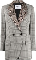 MSGM check print contrasting collar blazer
