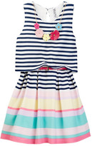 Beautees Striped Belted Dress with Necklace (Big Girls)