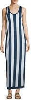 Diane von Furstenberg Sleeveless Striped Maxi Coverup Dress, Navy/White