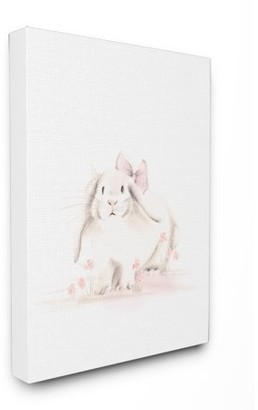 The Kids Room by Stupell Baby Bunny With Pink Bow Wall Plaque Art, 10 x 0.5 x 15