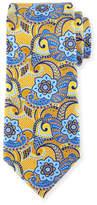Ermenegildo Zegna Printed Paisley Silk Tie, Yellow