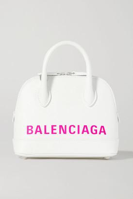 Balenciaga Ville Xxs Aj Printed Textured-leather Tote - White