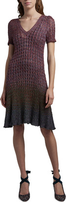 Missoni Textured-Knit Short-Sleeve Dress