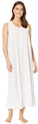 Eileen West Cotton Modal Jersey Sleeveless Ballet Gown (White Ground/Hearts/Buds) Women's Pajama