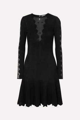 Alexander McQueen Lace-paneled Ribbed-knit Dress - Black