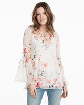 White House Black Market White & Pink Floral Print Blouse