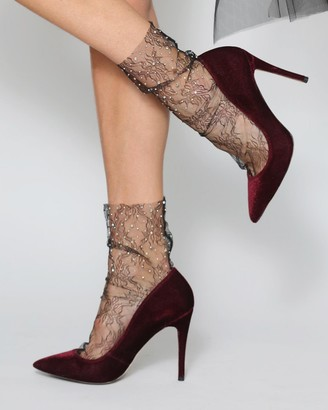 High Heel Jungle - Women's Black Socks - Crystal Lace Socks - Size One Size, One size at The Iconic