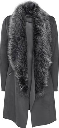 Wallis Grey Faux Suede Fur Collar Waterfall Jacket