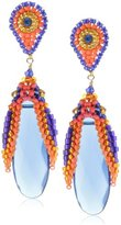 Miguel Ases Blue Hydro-Quartz Embroidered Drop Earrings