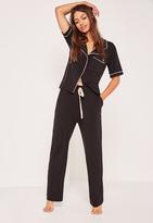 Missguided Black Piping Pajama Set