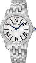 Seiko Women's Quartz Watch with White Dial Analogue Display and Silver Stainless Steel Bracelet SRZ437P1
