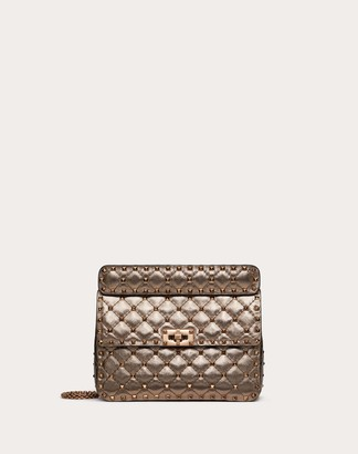 Valentino Medium Rockstud Spike Bag In Metallic Nappa Leather Women Stone Lambskin 100% OneSize