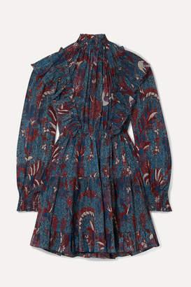 Ulla Johnson Vienne Ruffled Printed Cotton-blend Crepon Mini Dress - Navy