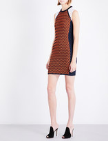 Versace Contrast-panel knitted mini dress