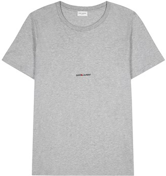 Saint Laurent Grey melange logo cotton T-shirt