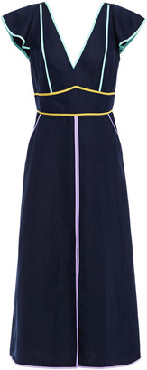Kate Spade Silk And Linen-blend Canvas Midi Dress