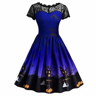 Gofodn Halloween Dresses for Women Plus Size Ladies Elegant Vintage Lace Print Loose Long Sleeve Gown Evening Party Dress Blue