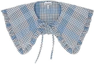 Ganni Blue and White Seersucker Check Collar