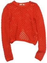 Rebecca Taylor Orange Knit Long Sleeve Open Back Sweater