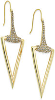 ABS by Allen Schwartz Gold-Tone Pavé Accented Polished Triangle Drop Earrings