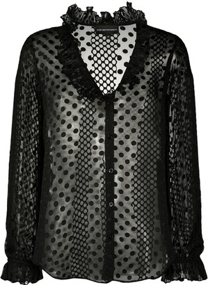 Emporio Armani Sheer Polka Dot Patterned Blouse