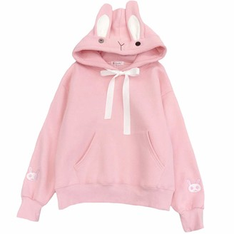 Himifashion Womens Japanese Style Hoodie Cute Bunny Ear Pullover Sweatshirt Teen Girls Long Sleeve Thin Fleece Tops Hooded Plus Size (Black XL)