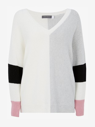 Mint Velvet Blocked Sleeve V Neck Jumper - Cream