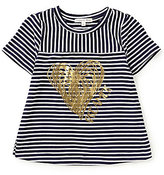 Copper Key Big Girls 7-16 Striped Foil-Heart Tee