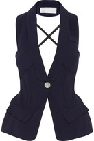 Antonio Berardi Open-back Stretch-cady Vest - Midnight blue