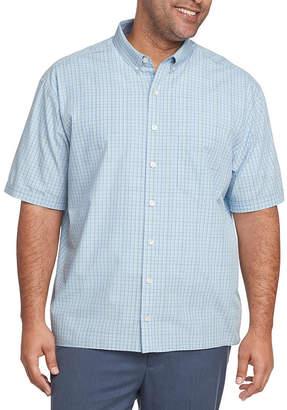 Van Heusen Big and Tall Never Tuck Mens Short Sleeve Plaid Button-Front Shirt