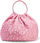 RED Valentino Leather-trimmed polka-dot canvas tote
