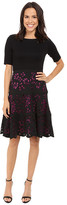 NUE by Shani Knit Bodice Dress w/ Laser Cutting Fit and Flare Skirt