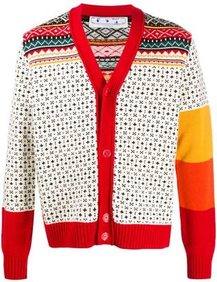Off-White Cross Stitch Pattern Cardigan