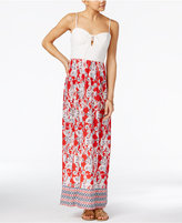 Trixxi Juniors' Lace-Up Printed Maxi Dress