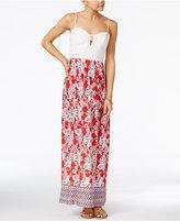 Trixxi Juniors' Lace-Up Printed Maxi Dress