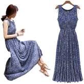 Smile-YZ Sexy Sleeveless Women's Retro Casual Loose Boho Summer A-Line Long Maxi Beach Dress (Asian XL(US M ))
