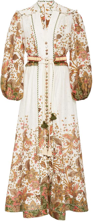 Zimmermann Empire Belted Printed Linen Maxi Dress