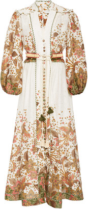 Zimmermann Empire Belted Printed Linen Maxi Dress