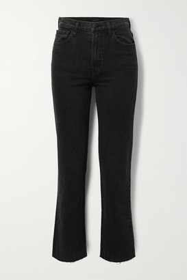 J Brand Jules Distressed High-rise Straight-leg Jeans - Charcoal