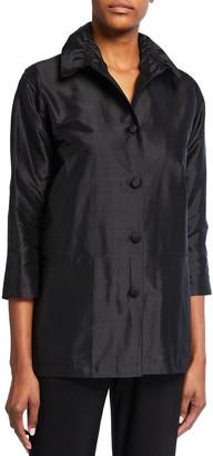 Caroline Rose Silk Shantung Collared Shirt