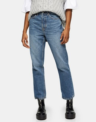 Topshop Editor straight leg jeans in mid wash blue