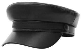 GEMVIE Women Newsboy Hat PU Leather Flat Fiddler Sailor Cap Baker Boy Hat Cabbie Beret Peaked Cap for Parent-Child 57CM Black