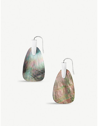 Kendra Scott Marty silver and black mother-of-pearl cats eye earrings