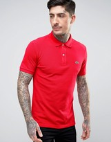 Lacoste Slim Fit Pique Polo In Red