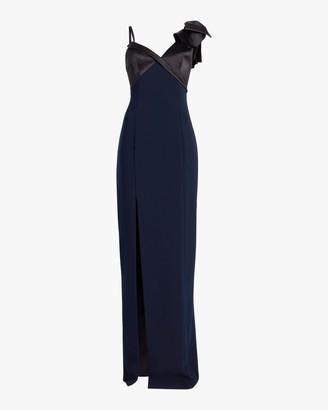 Marchesa Asymmetrical-Sleeve Crepe Gown