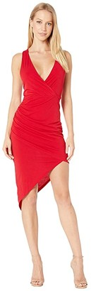 BCBGeneration Cocktail Shirred Asymmetrical Dress (Jester Red) Women's Dress