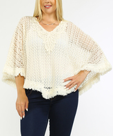 Flying Tomato Cream Lace Open-Knit Cape-Sleeve Top - Plus